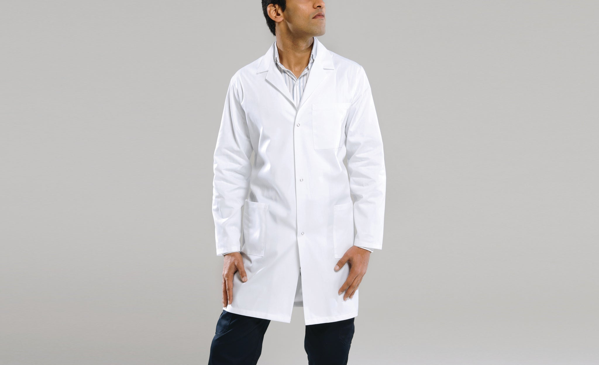 Dome Front Long Sleeve Dustcoat - White