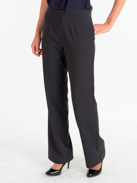 Ladies Charcoal Striped Pants with No Waistband