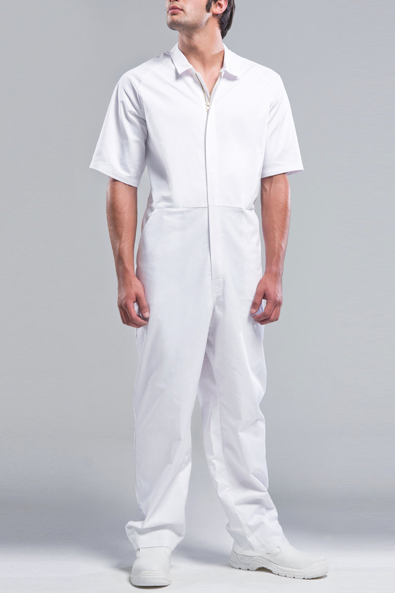 White Overalls Cotton Short Sleeve