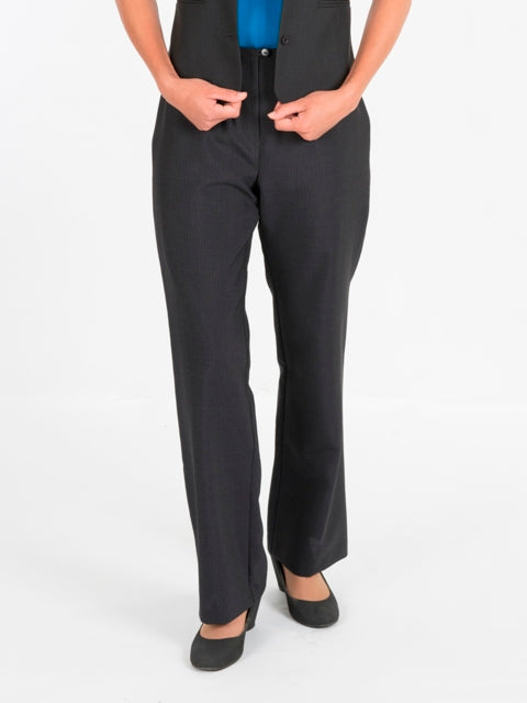 Ladies Charcoal Stripe Pants with No Waistband