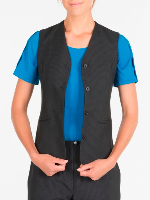 Ladies Charcoal Stripe Vest