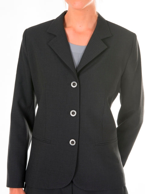 Ladies Charcoal Stripe Shaped Jacket