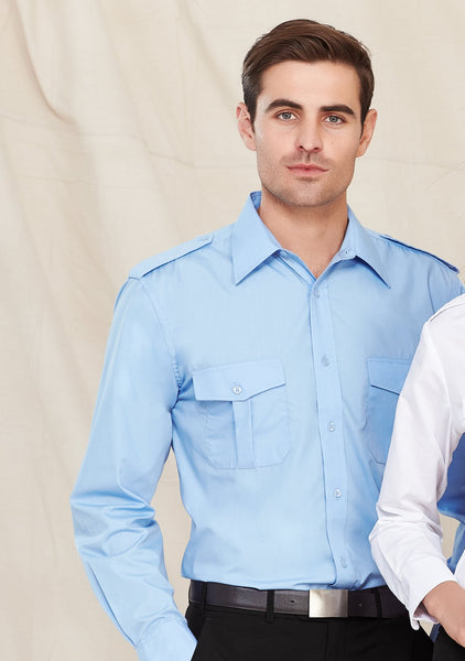 Men's Blue Epaulette Shirt