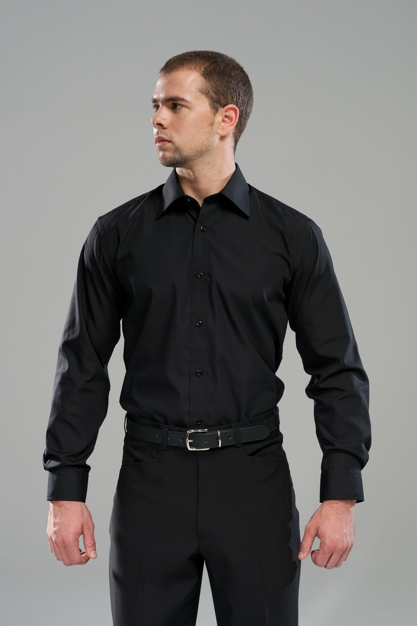 Men's No Pocket Shirt LSL - Black