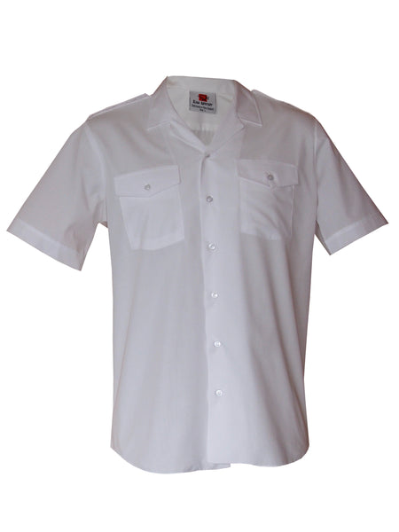 Revere Collar Epaulette Shirt SSL - White