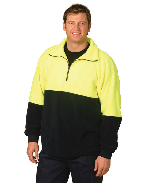 SW07 Hi Vis 1/2 Zip Polar Fleece Pullover - Yellow/Navy