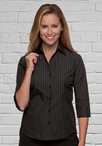 Black Striped 3/4 Sleeve Blouse for Ladies
