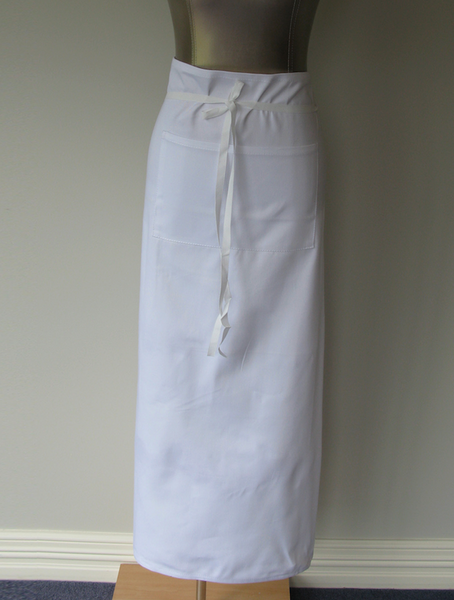 White Square Apron with Pocket