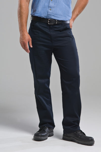 Plain Front Navy Work Trouser