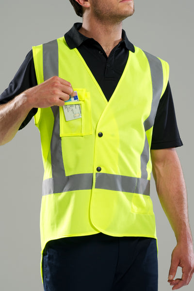 High Vis Vest with Tape - Fluorescent Yellow