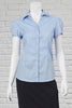 Cap Sleeve Self-Stripe Blouse for Ladies - Pale Blue