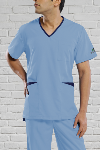 Unisex V-Neck Pale Blue/Navy Scrub Top