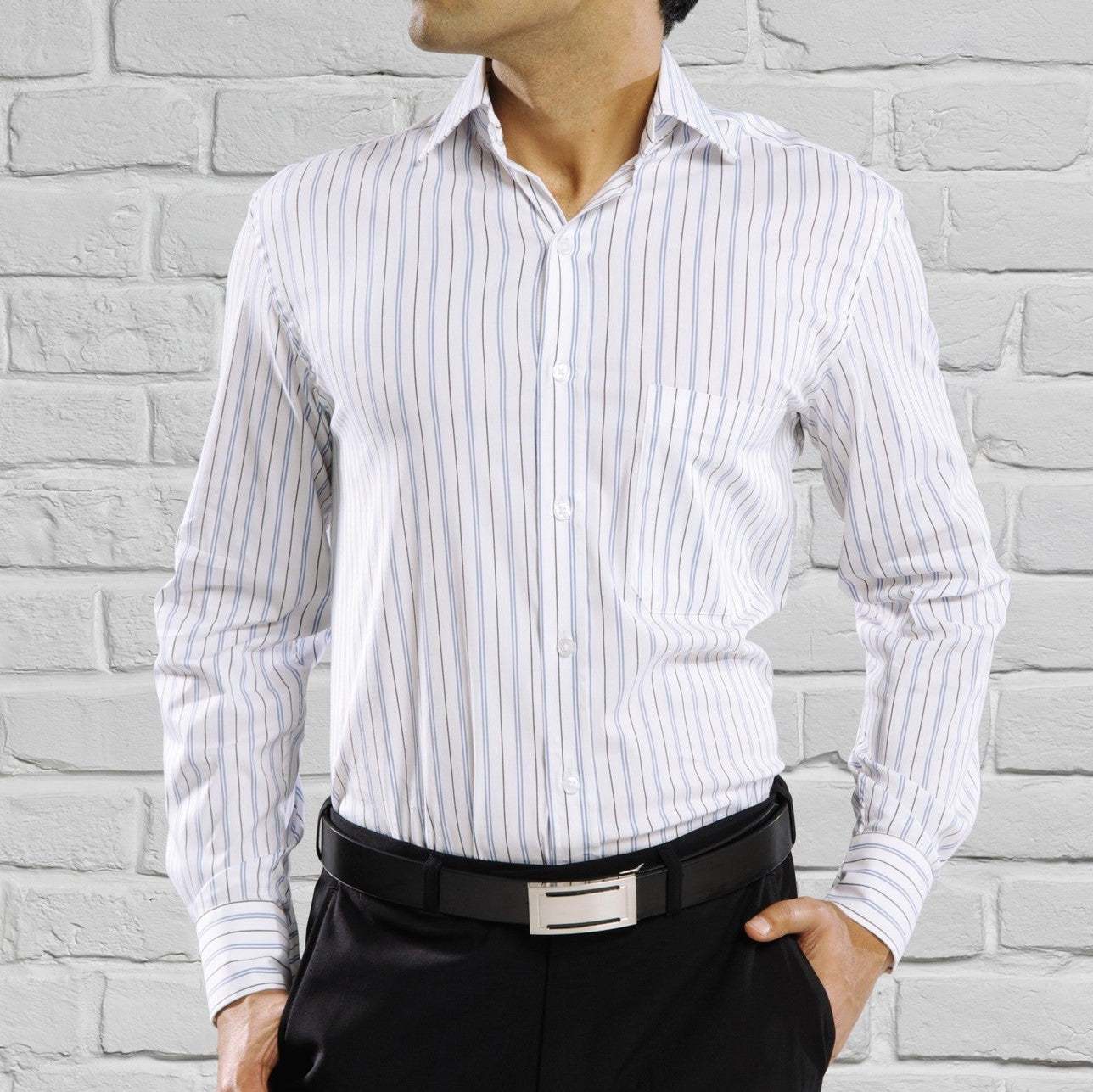 Alcamo Stripe Long Sleeve Shirt - White