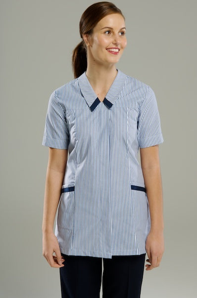 Short Sleeve Health Tunic Top - Navy/White Stripe