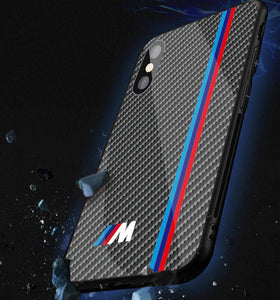 Motorsport BMW M Power Tempered Glass Carbon Fiber Style Case for iPhone 11 Pro Pro Max XR XS XS Max X 8 7 6 Samsung Galaxy S10 S9 S8 Note 9 8
