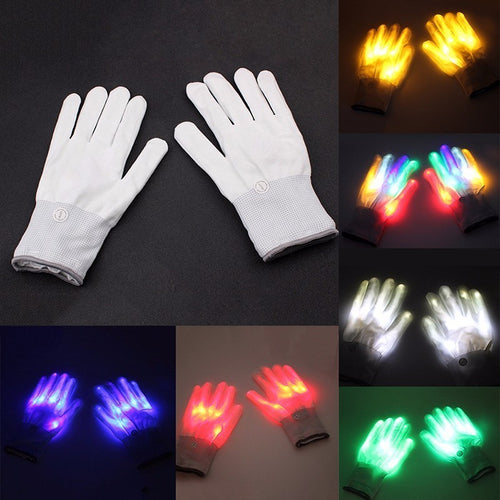 LED Skeleton Fingers Flashing Light Glow Gloves with 7 Modes