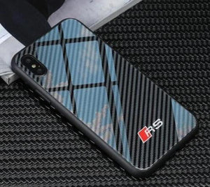 *NEW ARRIVAL* Audi RS Tempered Glass Carbon Fiber Style Case for iPhone 11 Pro Pro Max XR XS XS Max X 8 7 6 Samsung Galaxy S10 S9 S8 Note 9 8