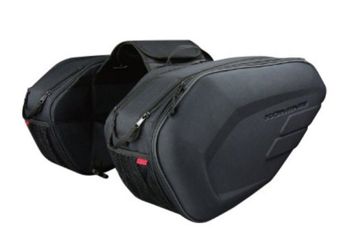 Komine SA212 Motorcycle Waterproof Saddle Bags + Pair of Rain Covers and Bottom Support Plates