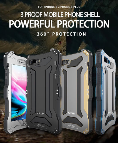 Gundam Armor Life Water Resistant Shockproof Aluminum Case with Gorilla Glass for iPhone XR XS XS Max X 8 7 6 5