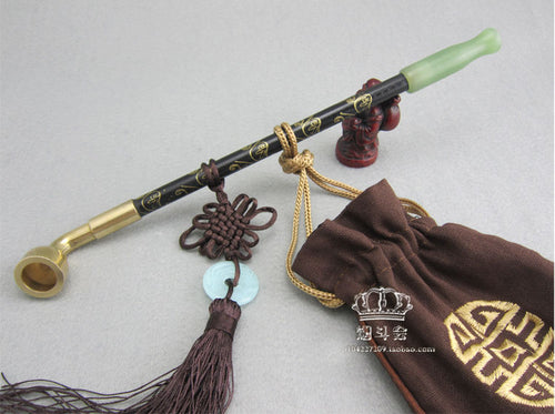 Chinese long stem tobacco smoking pipe. Wood with jade cigarette holder mouth piece and brass bowl