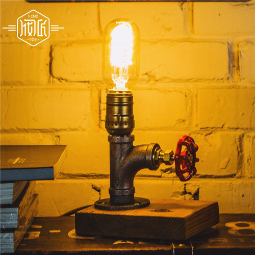Vintage Industrial Desk Light, Night Light, Retro E27, Edison Bulb, Retro Faucet Knob = On/Off Switch