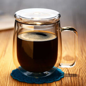 Hand Blown Double Wall Glass Mug with Glass Lid, Heat Resistant Thermal Insulated, Hot or Cold Beverages