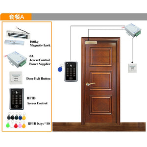 RFID Access Control System Kit Wooden Door Set+Eletric Magnetic Lock + Keyfob+Power Supply+Exit Button