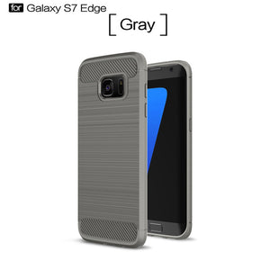 Shockproof Phone Case For Samsung Galaxy S6, S6 Edge, S7, S7 Edge, S8, S8 Plus. Carbon Fiber TPU Drawing Material