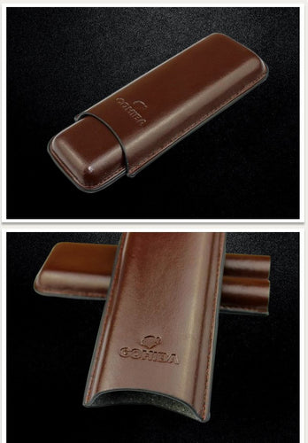 COHIBA Brown Leather Holder 2 Tube Travel Cigar Case Humidor