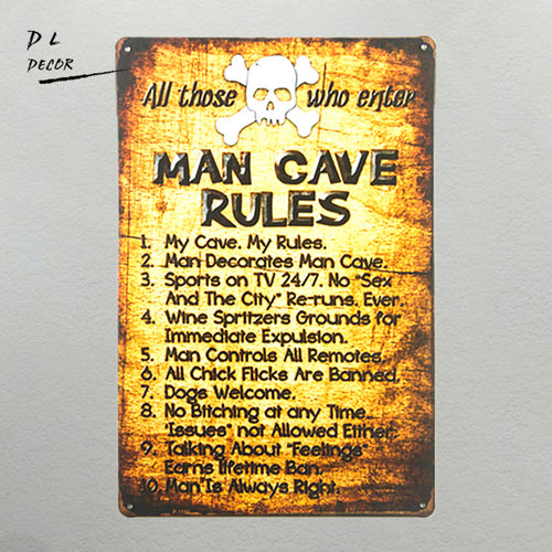Retro Man Cave Rules, Metal Signs, Funny Novelty Wall Art, MAN CAVE, Dorm, Garage