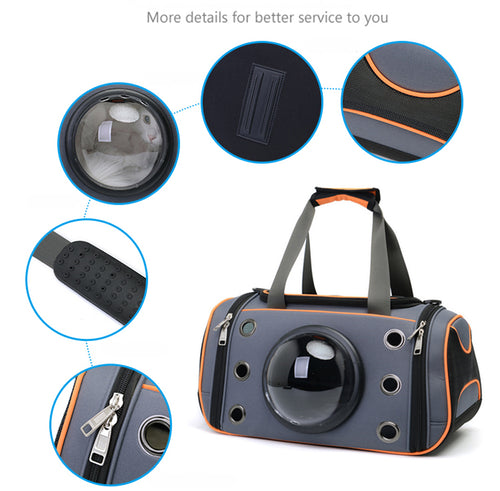 Space Capsule Pet Carrier Bag, Small Dog or Cat Travel Bag, Vented With Viewing Window