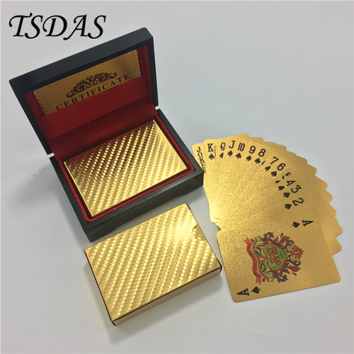 Golden Foil Plated Playing Cards, 52 Cards, 2 Jokers, With Wooden Box