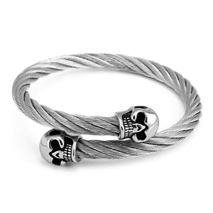 Twin Skull Wire Stainless Steel Bracelet with CZ Paved Eyes