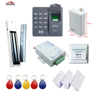 Biometric Fingerprint RFID Access Control System Kit, Wooden Door Set+Electric Magnetic Lock+RFID Card,RFID Keyfob+Power Supply+Exit Button