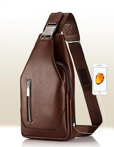 Designer PU Leather Sling Bag with USB Charging Port