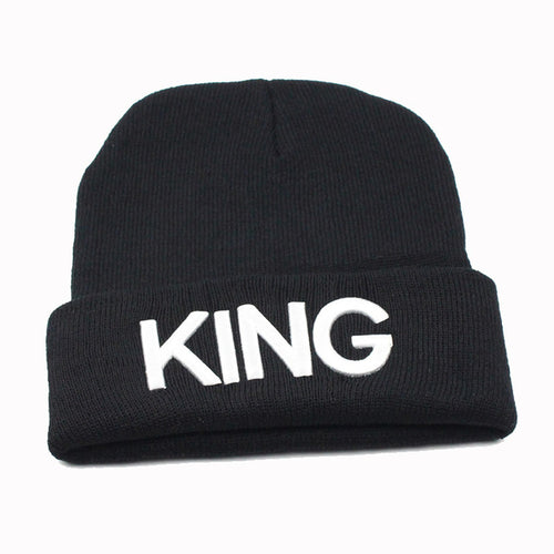 Embroidered 3D Texts KING, QUEEN Cuffed Beanies, Trendy Knit Skull Cap