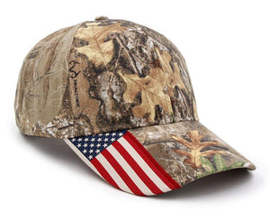 Hunter Camo US Flag Caps