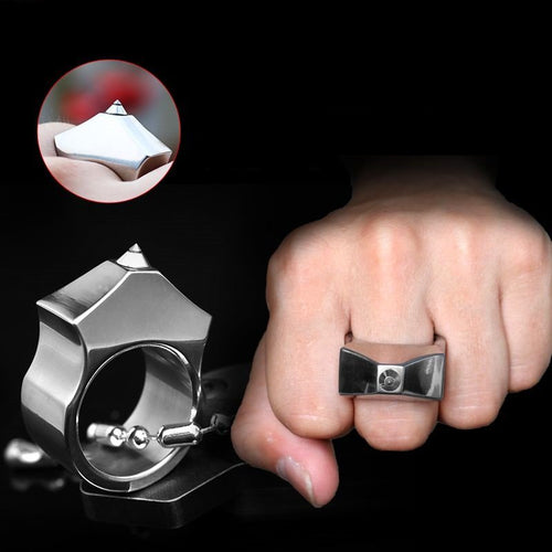 High Quality Tungsten Steel Self Defense Survival Ring with Chain