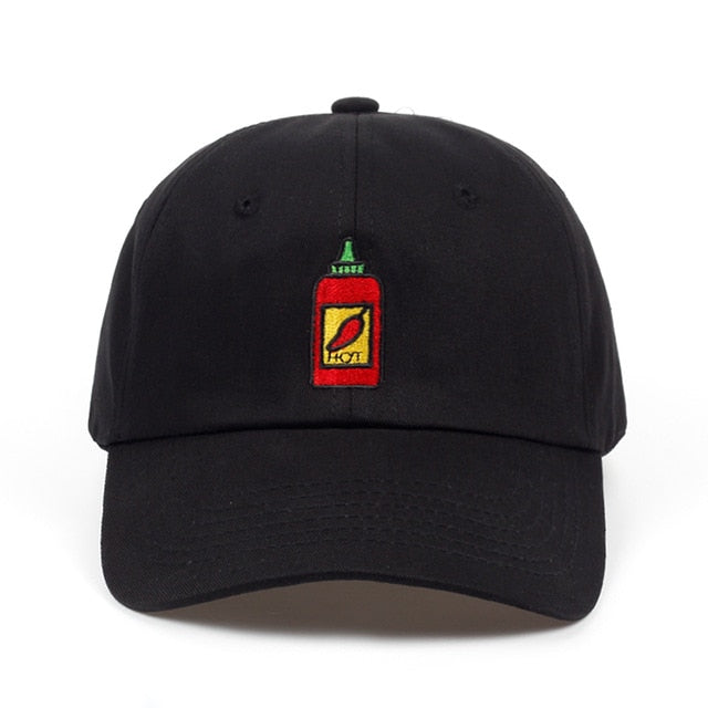 Chili Head Hot Sauce Bottle Embroidered Cap