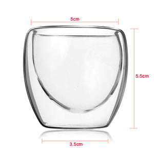 Hand Blown Hot Or Cold Resistant Double Wall Shot Glass, Keeps Hot Or Cold SAKE At Proper Temp, Cold Vodka Shots