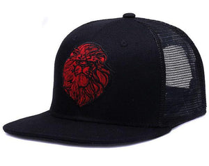 Embroidered Lion Mesh Trucker Snapback