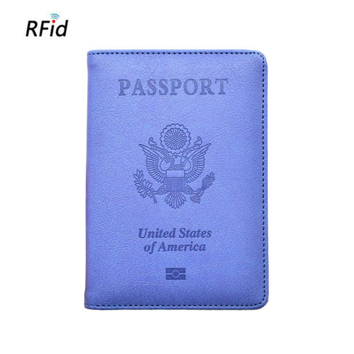 Leather Embossed Multi-function U.S.A. Passport Cover RFID Blocking