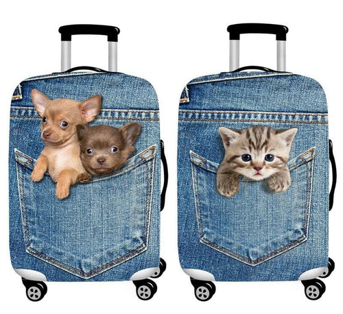 Cute Pet 3D Print Travel Luggage Protection Cover for 18-32 Inch Suitcase
