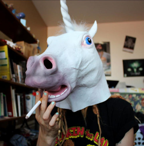 Horse Unicorn Overhead Latex Cosplay Mask with Fluffy Mane