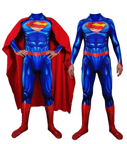 Superman 3D Print Cosplay Costume Jumpsuit with Cape