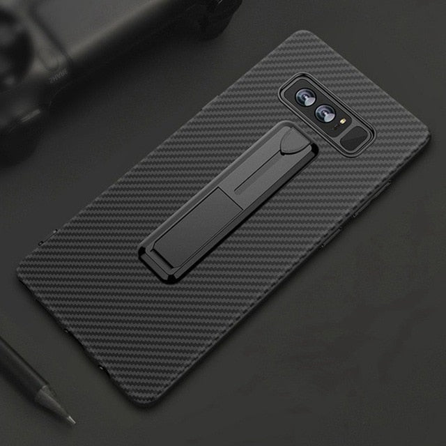 *Hottest Design* Carbon Fiber Style Slimline Case with Slide Ring Stand For Samsung Galaxy S9 S9+ Note 9 S8 S8+ Note 8