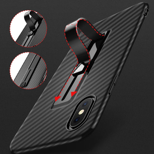 *Hottest Design* Carbon Fiber Style Slimline Case with Slide Ring Stand For iPhone XR XS XS Max X 8 Plus 7 Plus 6S Plus