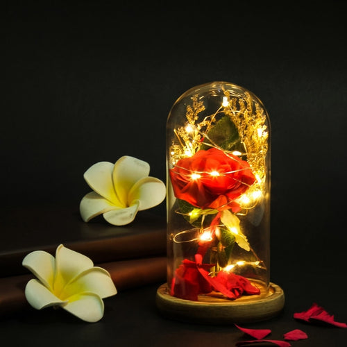 LED Red Rose Light with Glass Dome on a Wooden Base