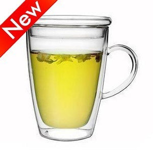 Classic Tall Hand Blown Double Wall Glass Mug with Glass Lid, Heat Resistant Thermal Insulated, Hot or Cold Beverages
