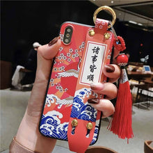 Chinese Crane Slide Hand Holder Stand Case with Tassel for iPhone X 8 7 6